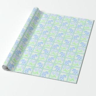 Papel De Presente Teste padrão azul do chá de fraldas do circo |