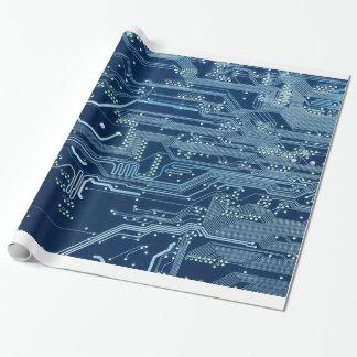 Papel De Presente teste padrão azul do computador de conselho do