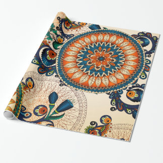 Papel De Presente Teste padrão boémio colorido do chique do hippy da