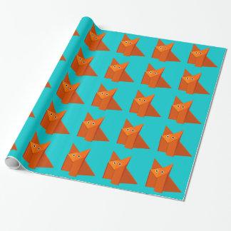 Papel De Presente Teste padrão bonito brilhante do Fox de Origami