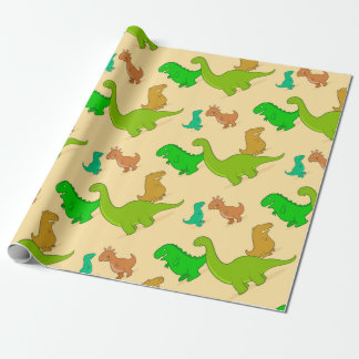 Papel De Presente Teste padrão bonito do dinossauro dos desenhos