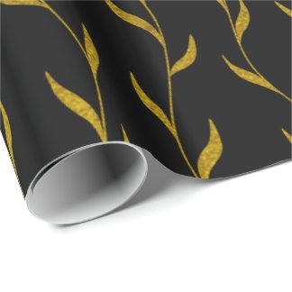 Papel De Presente Teste padrão botânico das folhas florais do ouro