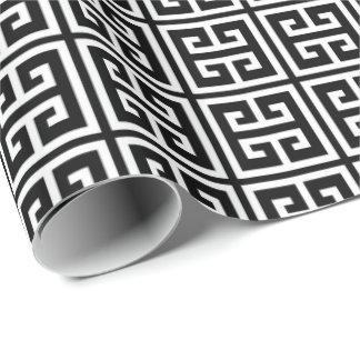 Papel De Presente Teste padrão chave grego preto e branco