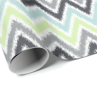 Papel De Presente Teste padrão cinzento de Ikat dos ziguezagues da