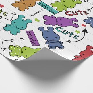 Papel De Presente Teste padrão colorido do hipopótamo dos desenhos