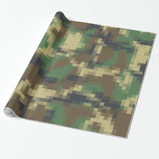 Papel De Presente Teste padrão da camuflagem do pixel de Digitas