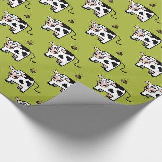 Papel De Presente Teste padrão de cora engraçado da vaca de Pooping