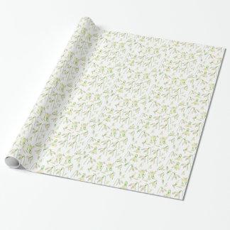 Papel De Presente Teste padrão de Snowdrops da aguarela