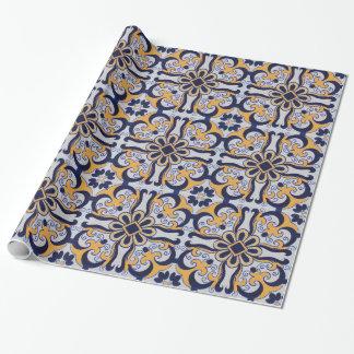Papel De Presente Teste padrão do azulejo do português