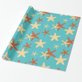 Papel De Presente Teste padrão do fundo da estrela do mar - papel de