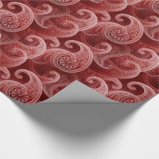 Papel De Presente Teste padrão exótico vermelho de Paisley