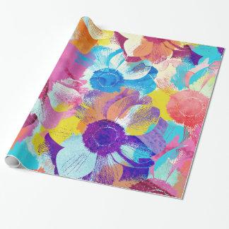 Papel De Presente Teste padrão floral colorido com flores da anêmona
