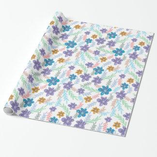 Papel De Presente Teste padrão floral da aguarela chique