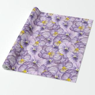 Papel De Presente Teste padrão floral da aguarela com pansies