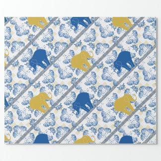 Papel De Presente Teste padrão floral da selva do safari do elefante