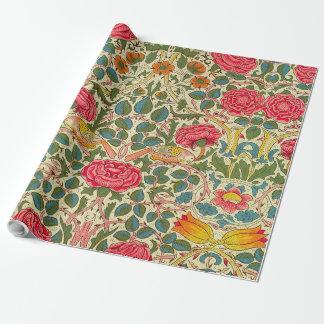 Papel De Presente Teste padrão floral de chintz cor-de-rosa do
