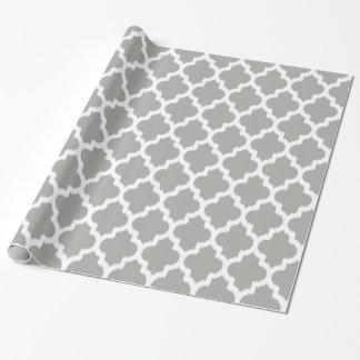 Papel De Presente Teste padrão geométrico branco & cinzento de