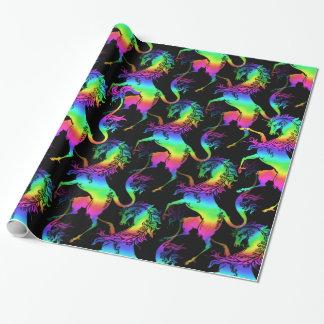 Papel De Presente Teste padrão heráldico do arco-íris do unicórnio