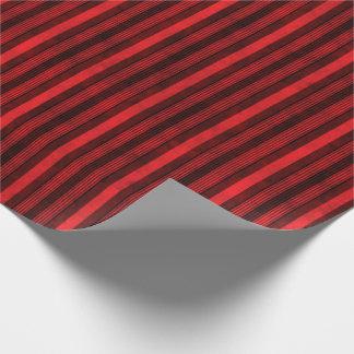 Papel De Presente Teste padrão listrado vermelho e preto