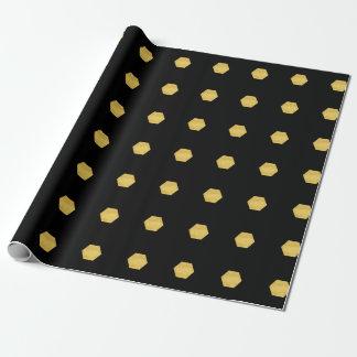 Papel De Presente Teste padrão Matte elegante dos hexágonos do ouro