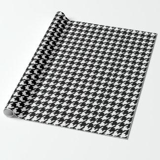 Papel De Presente Teste padrão preto e branco clássico de
