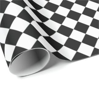 Papel De Presente Teste padrão preto e branco da forma do diamante