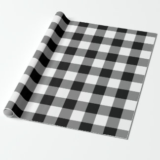 Papel De Presente Teste padrão preto e branco do guingão