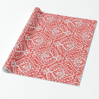 Papel De Presente Teste padrão tribal do ikat branco vermelho bonito