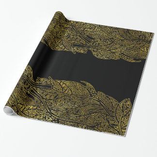 Papel De Presente Teste padrão tribal luxuoso da folha de ouro