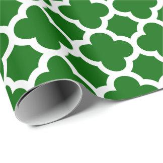 Papel De Presente Teste padrão verde da treliça de Quatrefoil do