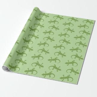 Papel De Presente Teste padrão verde de duas silhuetas do geco