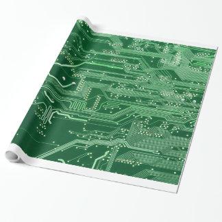 Papel De Presente teste padrão verde do computador de conselho do