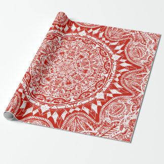 Papel De Presente Teste padrão vermelho da mandala