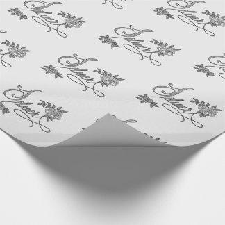 Papel De Presente Tipografia de prata com os rosas no olhar de linho
