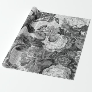 Papel De Presente Toile floral preto & branco Decoupage botânico