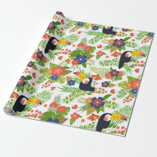 Papel De Presente Toucan & flores tropicais
