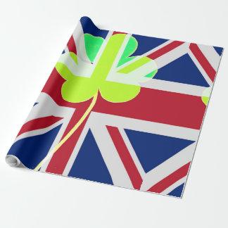 Papel De Presente Trevo britânico irlandês St Patrick Reino Unido do