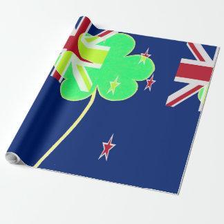 Papel De Presente Trevo St Patrick do trevo da bandeira de Nova