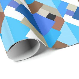 Papel De Presente Triângulos, azuis cobaltos e Brown abstratos
