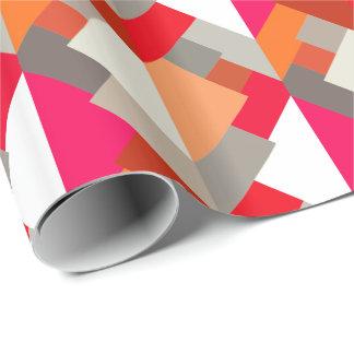 Papel De Presente Triângulos, laranja, fúcsia, & cinzas abstratos
