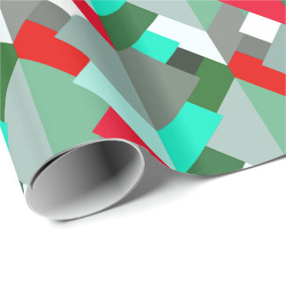 Papel De Presente Triângulos, turquesa, vermelho, & cinzas abstratos