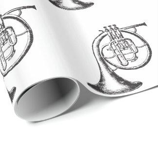 Papel De Presente Trompa francesa preto e branco