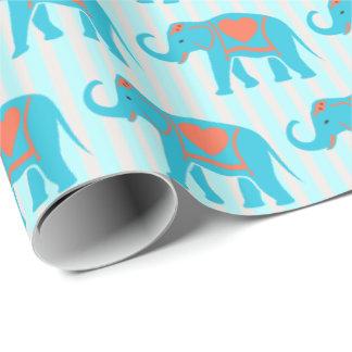 Papel De Presente Turquesa da cerceta, elefantes azuis, em listras