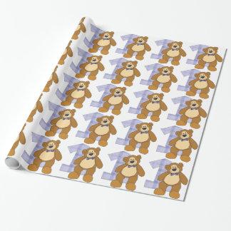 Papel De Presente Urso de ursinho de Brown do laço com número 1