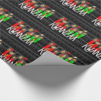 Papel De Presente Velas de Kinara do Lit de Kwanzaa com dançarinos