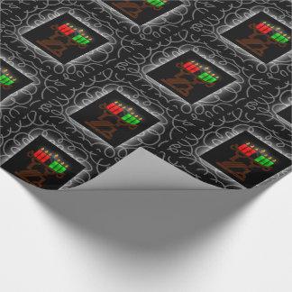 Papel De Presente Velas de Kinara do Lit de Kwanzaa com preto e