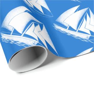 Papel De Presente Veleiro branco, náutico azul