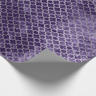 Papel De Presente Veludo violeta roxo metálico de prata de