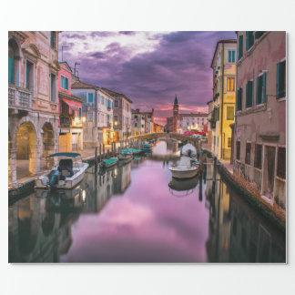Papel De Presente Veneza, canal cénico de Italia & arquitetura