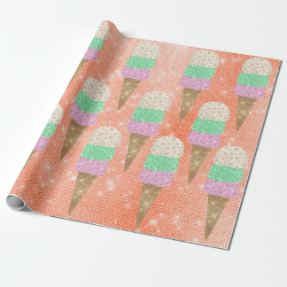 Papel De Presente Verão coral Pastel da faísca do rosa da hortelã do